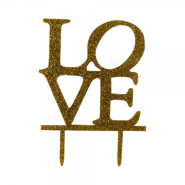 "Cake-Topper ""Love"" Glitter Gold"