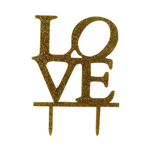 """Cake-Topper """"Love"""" Glitter Gold"""