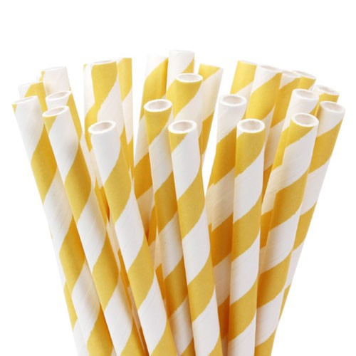 HOM Papier Strohhalme 15cm Stripes Soft Yellow