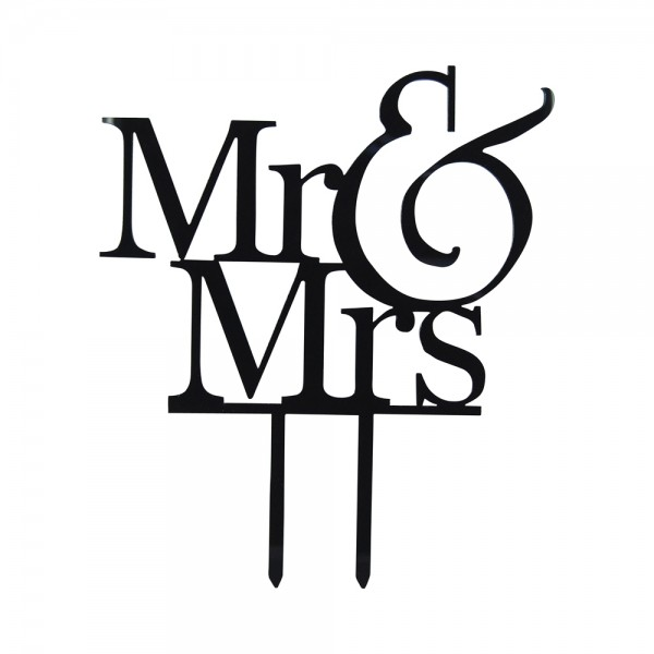 "Cake-Topper ""Mr & Mrs"" Schwarz"