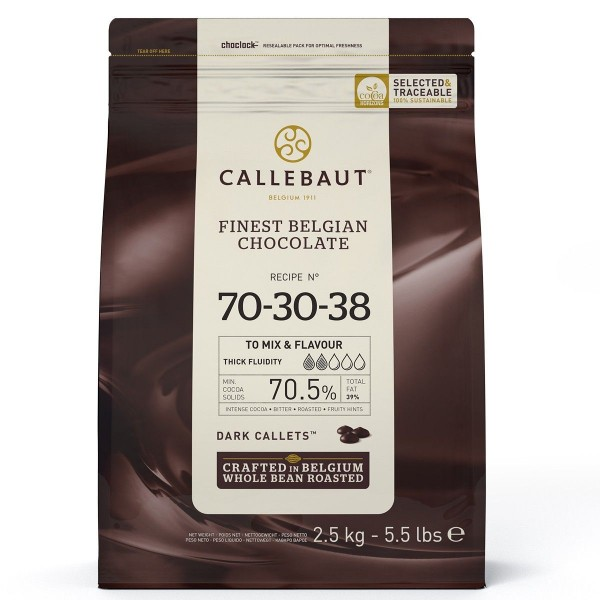 Callebaut Dunkle Schokoladenkuvertüre Bitter (70,5 %) 2,5kg im wiederverschließbaren Beutel