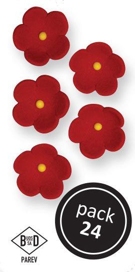 PME Blüten aus Zucker  ca 2 cm - Rot - 24 Stück