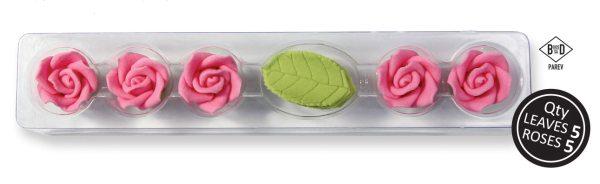 Zuckerrosen Set - 5 Rosen & Blätter - Pink