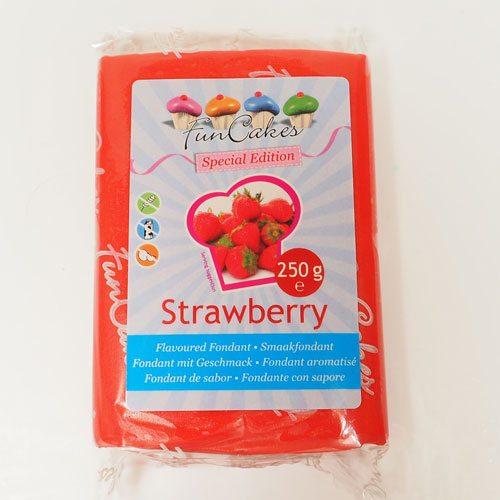 Funcakes Rollfondant Erdbeergeschmack (Rot / 250gr)