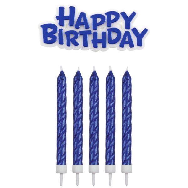 PME Kerzen Happy Birthday blau 17-teilig