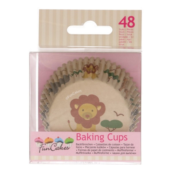 FuncCakes Baking Cups Safari 48/Pkg