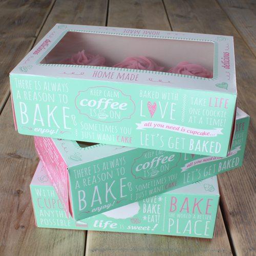 Funcakes Cupcake Box für 6 Stück / 24x16x8cm
