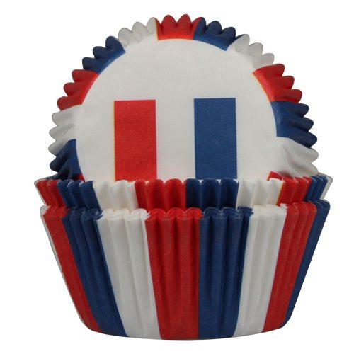 HOM Papier- Muffinbackform Französische Flagge 50 Stück