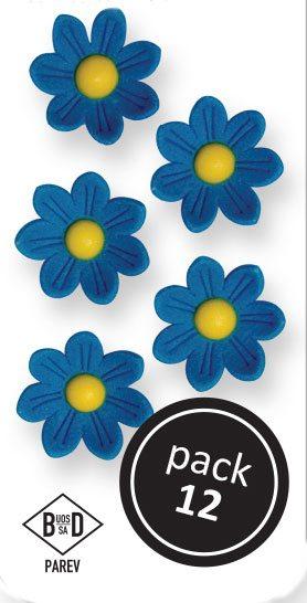 PME Gänseblümchen aus Zucker  ca 2 cm - Blau - 12 Stück