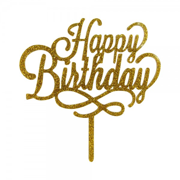 "Cake-Topper ""Happy Birthday"" Glitter Gold"