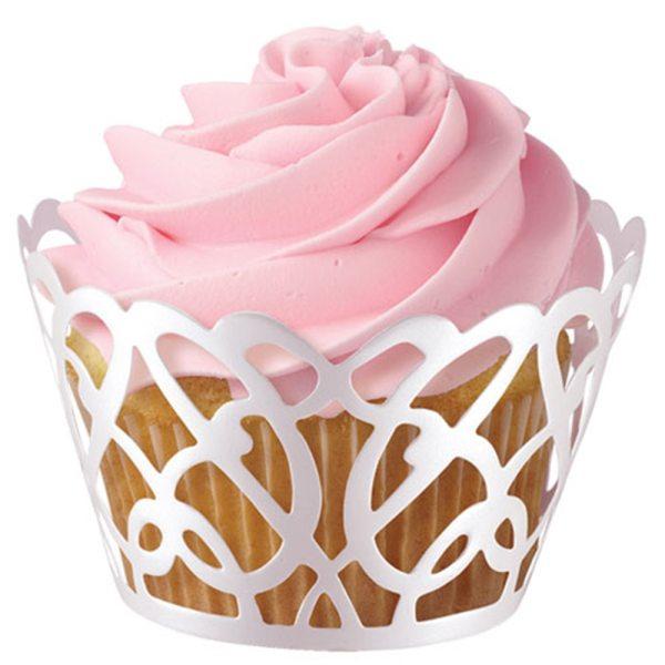 """Wilton Muffin / Cupcake Wraps 18 tlg. """"swirls pearl"""""""