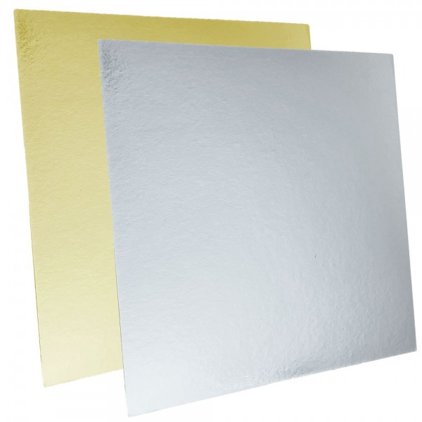 Tortenpappe gold/silber quadratisch 20cm/1mm 1 Stück