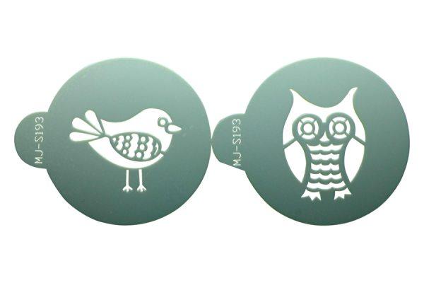 "Tortenkleid ""Dekoration"" Designer Stencils - Eule/Vogel"