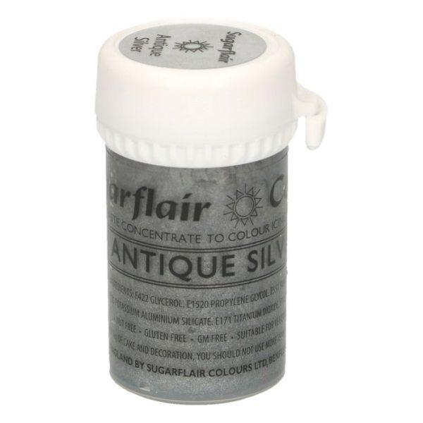 Sugarflair Paste Colour Satin Antique Silver, 25g