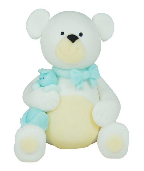 3D Zucker Figur Teddy Weiß mit Häschen Blau 1 Stück
