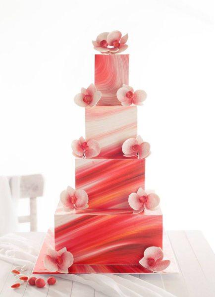 Vorgefertigtes Dekorset weiß/rot