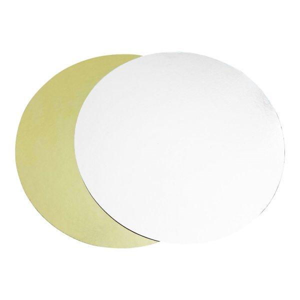 Tortenpappe gold/silber rund Ø25cm/1mm 1 Stück