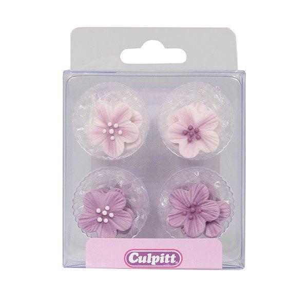 Culpitt Zucker Dekoration Blumen lila 12 Stück