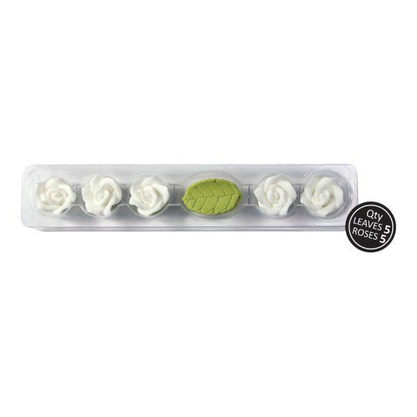 Zuckerrosen Set - 5 Rosen & Blätter - Weiß