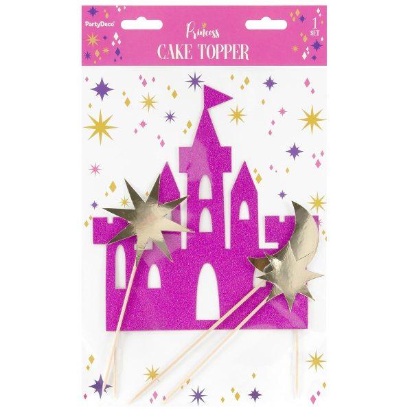 PartyDeco Cake Topper Prinzessinen Schloss Set 4-teilig