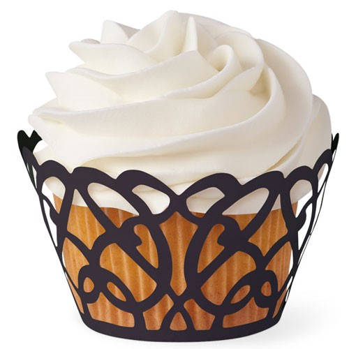 "Wilton Muffin / Cupcake Wraps 18 tlg. ""swirls black"""