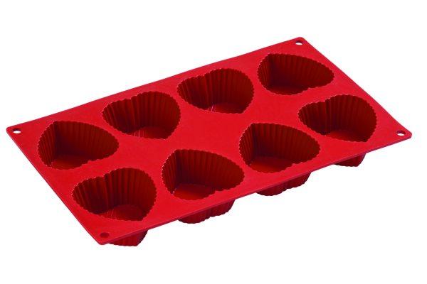 Pavoni Silikon Herz Backform für 8 Muffins