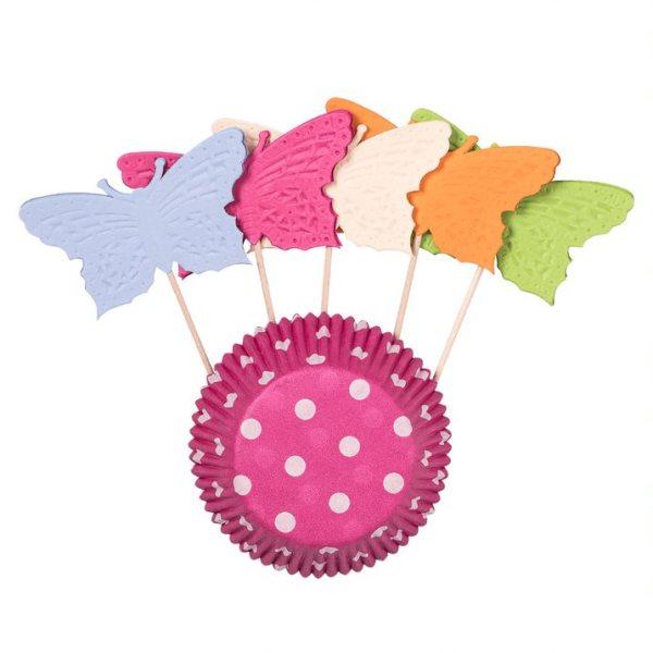 Muffinförmchen Punkte weiß/pink + Picker, 5x3,2cm