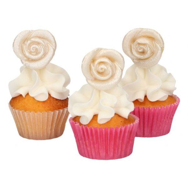 Funcakes Marzipan Dekoration Silberne Rosen pkg/6