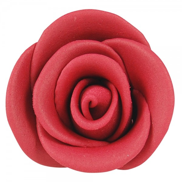 Zuckerrosen dunkel rot groß 12 Stück 50mm