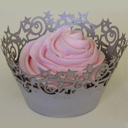 PME Muffin / Cupcake Wrappers silberne Sterne 12 Stück