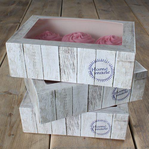 Funcakes Cupcake Box für 6 Stück / 24x16x8cm / 3er Pack
