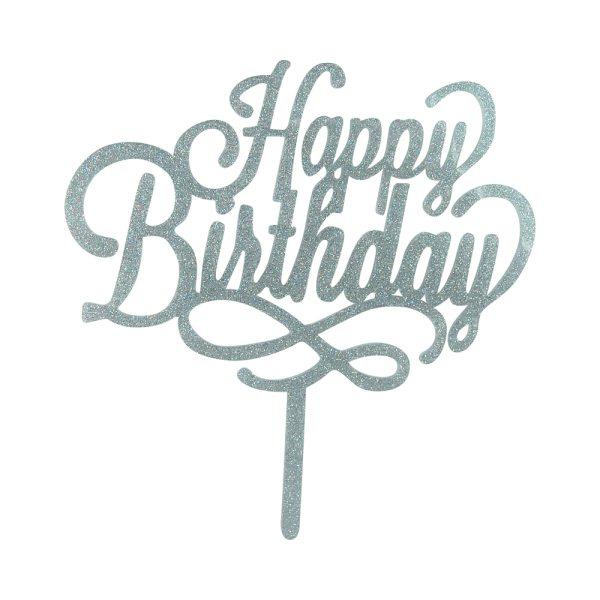 "Cake-Topper ""Happy Birthday"" Glitter Silber"