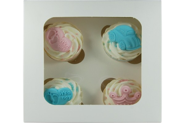 Cupcake Box weiß für 4 Stück/ 1 Box