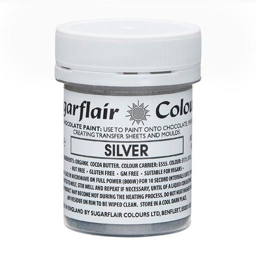 Sugarflair Kakaobutter Farbe Silber 35g