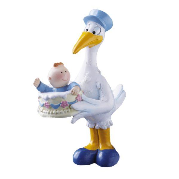 Storch mit Baby in blau (Taufe, Geburt)