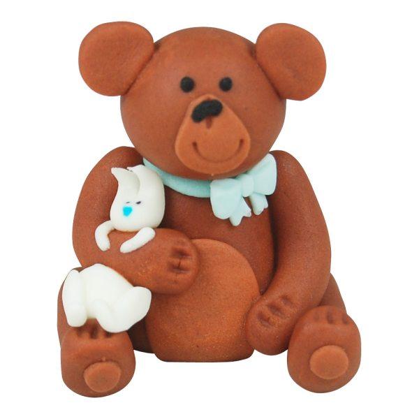 3D Zucker Figur Teddy Braun mit Häschen Blau 1 Stück
