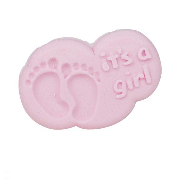"""Zuckeraufleger Wolke """"it´s a girl"""" pink 5 Stück"""