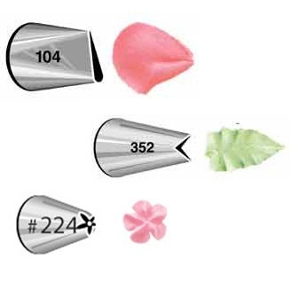 Wilton Tüllenset Petal #104, Leaf #352, Flower #224