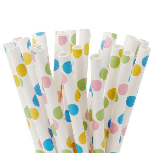 HOM Papier Strohhalme 15cm Bunte Punkte / Dots Fancy