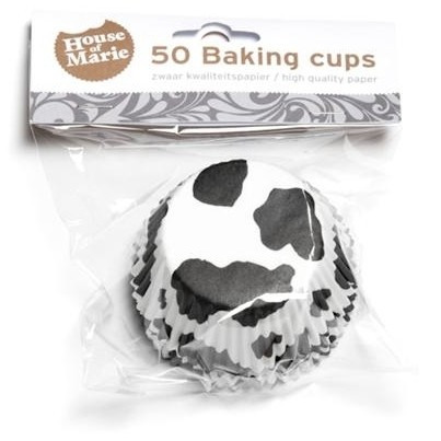 HoM Baking Muffinbackförmchen Kuhflecken schwarz - 50 Stück