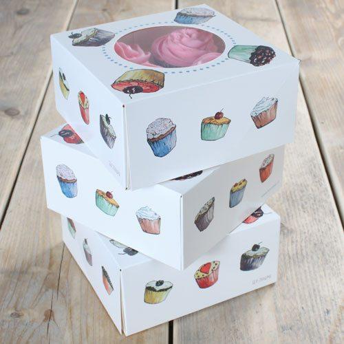 FunCakes Cupcake Box bunt für 4 Stück/ 3er Pack