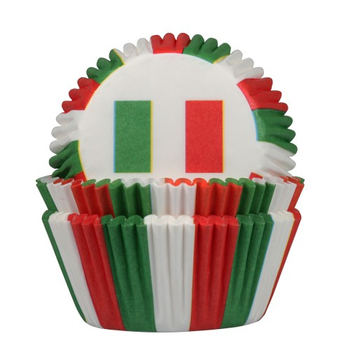 HOM Papier- Muffinbackform Italienische Flagge 50 Stück