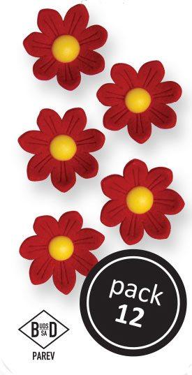 PME Gänseblümchen aus Zucker  ca 2 cm - Rot - 12 Stück