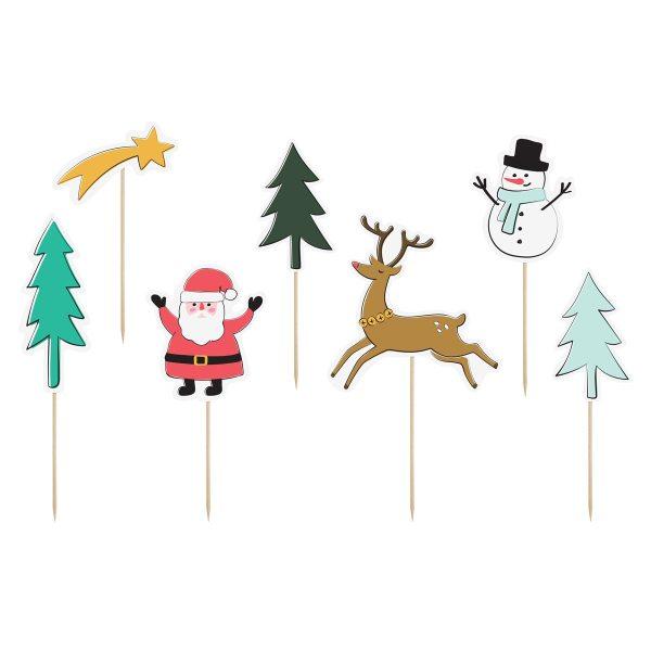 PartyDeco Caketopper Weihnachten Set 4-teilig