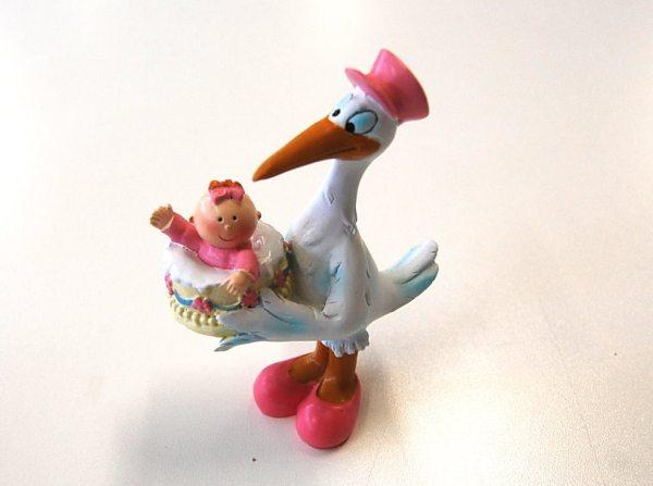 Storch mit Baby in rosa (Taufe, Geburt)