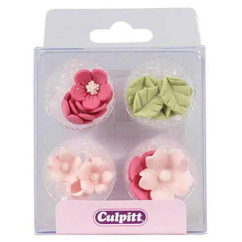 Culpitt Zucker Dekoration Blumen & Blätter pink 12 Stück