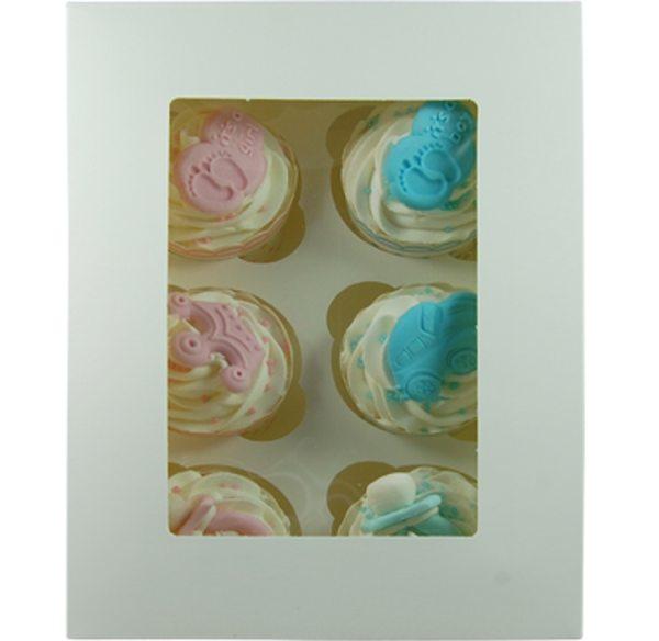 Cupcake Box weiß für 6 Stück / 1 Box