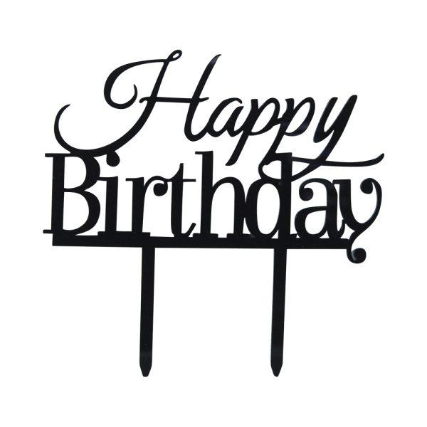 """Cake-Topper """"Happy Birthday"""" Schwarz"""