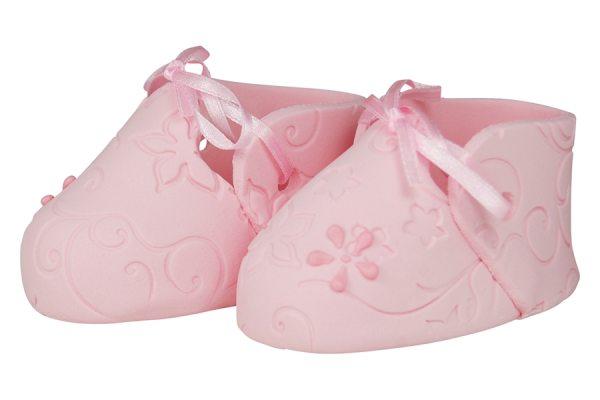 essbare Cake Topper Baby Schuhe Pink 2 Stück