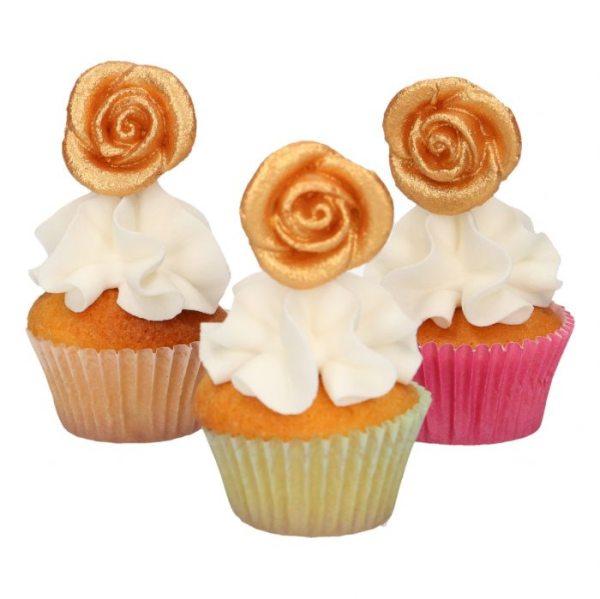 Funcakes Marzipan Dekoration Goldene Rosen pkg/6
